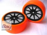 Drift Räder Schwarz Orange 63mmx26mm 2 Stk 12mm Innensechskant