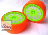 Drift Räder 1:10 Grün Orange 63mmx26mm 2 Stk 12mm Innensechskant