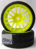Tourenwagen Räder 1:10 gelb V-Profil 63mmx26mm 2 Stk 12mm Innensechskant