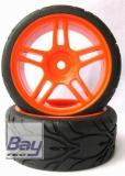 Tourenwagen Räder 1:10 Orange 63mmx26mm 2 Stk 12mm Innensechskant