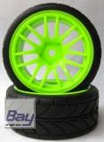Tourenwagen Räder 1:10 grün V-Profil 63mmx26mm 2 Stk 12mm Innensechskant
