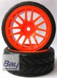 Tourenwagen Räder 1:10 orange V-Profil 63mmx26mm 2 Stk 12mm Innensechskant