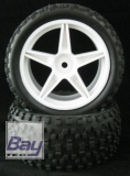 Offroad Räder Buggy 1:10 85mmx34mm 5 Speichen Weiß 2 Stk. Blockprofil 12mm Innen